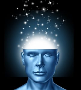 13650241 - intelligent thinking and power of ideas and innovation from human imagination with an open head and magical sparkles coming out of the brain as an icon of creative success  and clear vision into the future