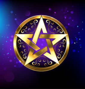 58393297 - magic pentagram glowing in gold on the space background. magic design. gold pentagram. gothick style. mysticism and the occult. wiccan star