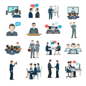37810490 - conference icons flat set with business people workgroup communication isolated vector illustration